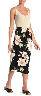 Bobeau Tie Front Floral Midi Skirt