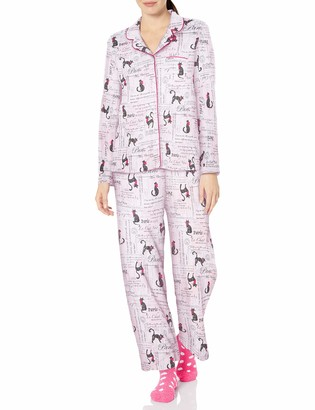 Karen Neuburger Women's Long Sleeve Animal Print Girlfriend Pj Set