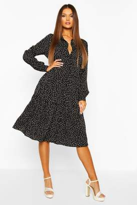 boohoo Polka Dot Tiered Midi Shirt Dress