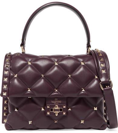 Valentino Garavani Candystud Quilted Leather Shoulder Bag - Plum