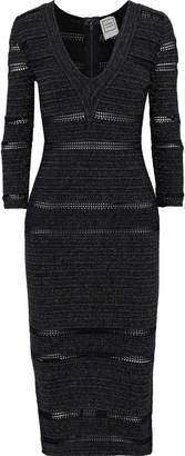 Herve Leger Crochet-trimmed Metallic Stretch-knit Dress