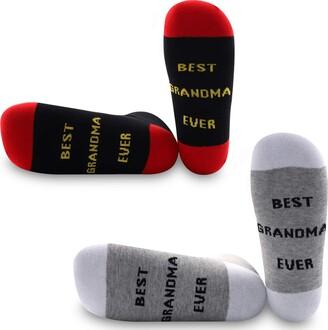 Generic Brands PYOUL 2 Pairs Grandma Socks Best Grandma Ever Gifts for Grandma New Grandma Gift New Mom Gift Birthday Gift (Best Grandma Ever)