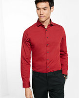Express Slim Fit Micro Print Dress Shirt