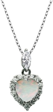 "PRIME ART & JEWEL 925 Sterling Silver with Lab Created Opal and Cubic Zirconia Heart Pendant with 18"" Chain"