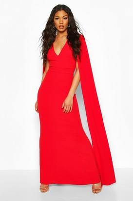 boohoo Cape Sleeve Fishtail Maxi Dress