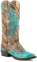 Stetson Crackled Brown & Turquoise Wing Tip Leather Cowboy Boot