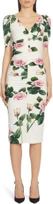 Dolce & Gabbana Rose Print Ruched Sheath Dress