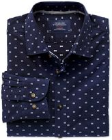 Charles Tyrwhitt Extra Slim Fit Navy and White Dobby Cotton Casual Shirt Single Cuff Size XS