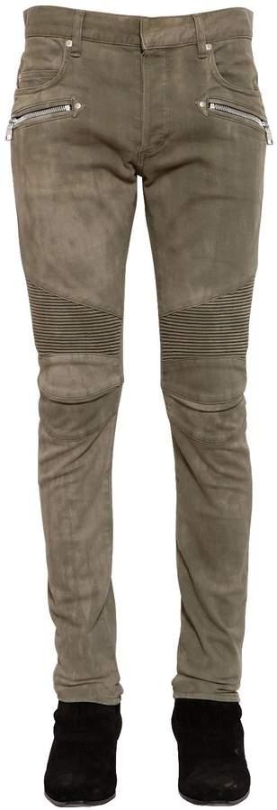 Balmain 16cm Biker Washed Stretch Denim Jeans