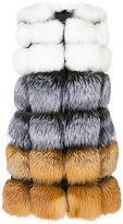 Liska - multicolour panel gilet - women - Silk/Fox Fur - M