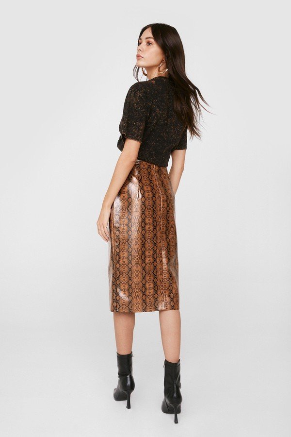 Thumbnail for your product : Nasty Gal Womens Faux Leather Snake Print Slit Midi Skirt - Brown - 4