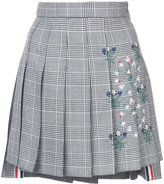 Thom Browne Dropped Back Mini Pleated Skirt With Floral Wallpaper Embroidery In Prince Of Whales Heavy Wool