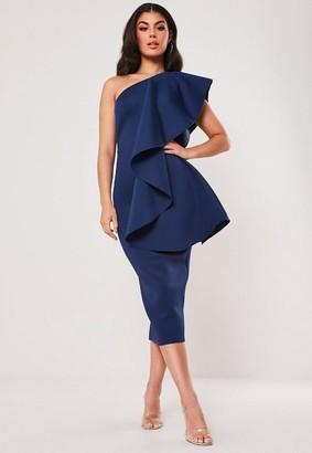 Missguided Scuba One Shoulder Midi Dress