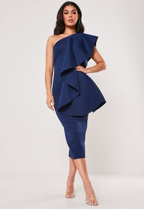 Missguided Navy Scuba One Shoulder Midi Dress