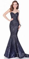 Terani Couture Strapless Marble Jacquard Fit and Flare Evening Gown