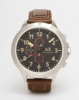 Armani Exchange Watch With Leather Strap Ax1755 - Brown