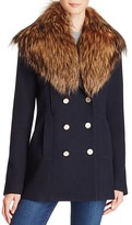 Theory Overby Belmore Fox Fur-Trimmed Coat
