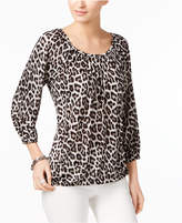 MICHAEL Michael Kors Animal-Print Peasant Top