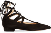 Eight Lace-Up Suede Point-Toe Flats