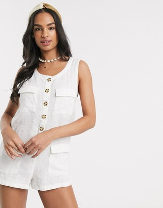 rhythm Postiano linen playsuit in pearl white