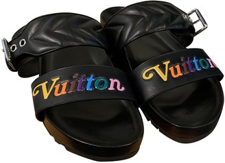 Louis Vuitton Bom Dia Black Leather Sandals