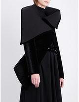 Gareth Pugh Ladies Black Asymmetric-Collar Velvet Jacket