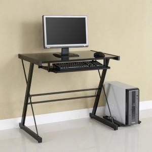 Walker Edison Home Office Glass Metal Computer Desk - Silver