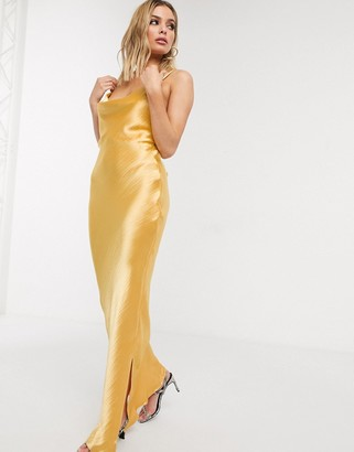 Asos Design DESIGN cami maxi slip dress in high shine in satin with lace up back-Gold