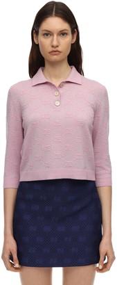 Gucci Gg Wool Knit Lurex Polo Top