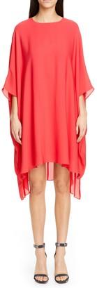 St. John Silk Georgette 3/4 Sleeve Shift Dress