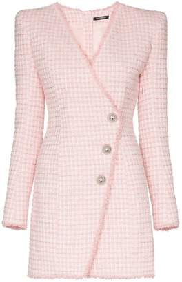 Balmain asymmetric-button tweed blazer dress