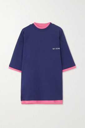 we11done Oversized Reversible Printed Cotton-jersey T-shirt - Navy