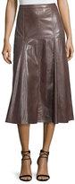Halston Leather Godet Midi Skirt, Dark Taupe
