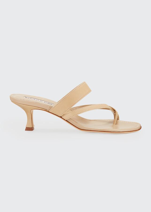 Manolo Blahnik Susa Strappy Leather Slide Sandals