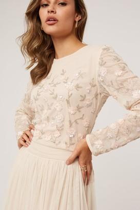 Little Mistress Emma Nude Floral Embellished Sequin Top Co-ord