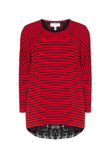 Chalou Plus Size Striped jersey and lace top