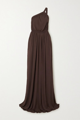 Matteau One-shoulder Gathered Jersey Maxi Dress - Brown