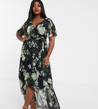 Asos DESIGN Curve cape back dipped hem maxi dress in green floral print-Multi