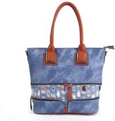 Hoxis Special Zipper Denim Tote Shopper Womens Shoulder Handbag