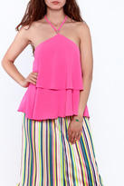 essue Pink Sleeveless Layered Top