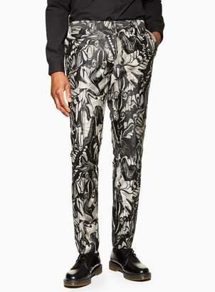 Moth TopmanTopman Grey Jacquard Skinny Fit Suit Trousers