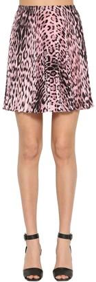 Roberto Cavalli Leopard Print Twill Mini Skirt