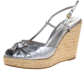 Prada Silver Leather Knot Open Toe Espadrille Wedge Slingback Sandals Size 38
