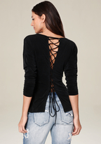 Bebe Lace Up Back Top