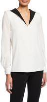 Givenchy Long-Sleeve Bicolor V-Neck Crepe de Chine