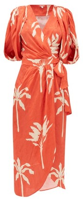 Johanna Ortiz Filled With Promises Printed Jacquard Wrap Dress - Red