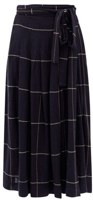 Three Graces London Jessamina Pleated Check-print Brushed-twill Skirt - Navy Print