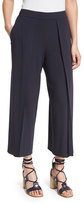 Rag & Bone Rowe Pleated Cropped Wide-Leg Pants, Dark Blue