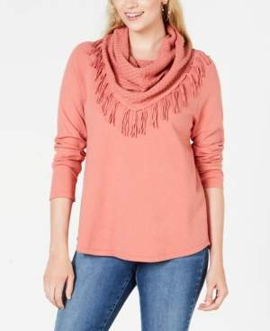 Style&Co. Style & Co Petite Fringed Cowl-Neck Sweater, Created for Macy's