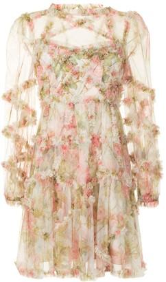 Needle & Thread Harlequin Rose ruffle mini dress